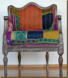 Kantha quilt upholstering. We have many kantha quilts in stock to start you project. Designerscraft.com