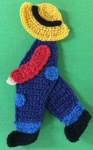 Crochet boy with a fishing rod body with hat