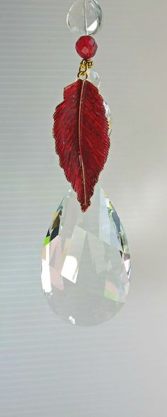red hanging prism crystal prism red decoration by CrystalMamma