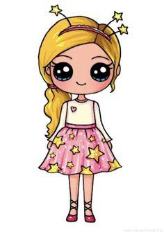 милая девочка - Pen Tutorial and Ideas Kawaii Girl Drawings, Cute Disney Drawings, Cute Easy Drawings, Cute Girl Drawing, Little Girl Drawing, Cute Cartoon Drawings, Cool Art Drawings, Animal Drawings, Arte Do Kawaii