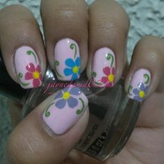 cute blue and pink flowers with a cute light pink for base coat a nice green for the veins!!!!!!