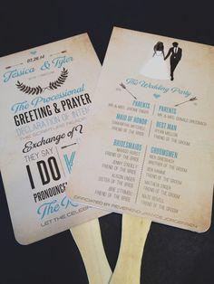 Wedding program - hand fans for outdoor weddings
