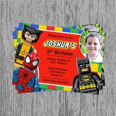 Lego Superheroes Birthday Invitation Digital File You Print