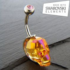Piercing Nombril crâne de Cristal. http://piercing-pure.fr/p/50-piercing-nombril-crane-de-cristal.html #crane #skull #piercing