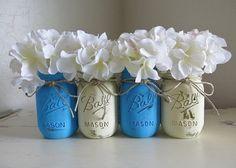 Light Blue and White Distressed Mason Jars. by MyHeartByHand