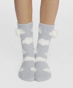 Skarpetki fluffy w chmurki - 3