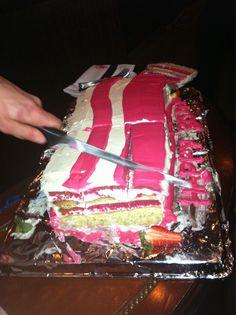 My bacon shaped birthday cake.