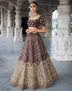 66b6b2e40fc2fc Ideal Wine Heavily Embellished Wedding Wears Lehenga Choli Indian Lehenga
