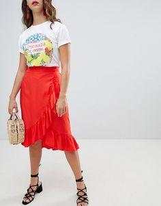 3047e08d5 New Look | New Look Ruffle Wrap Midi Skirt Mi Long, Waist Skirt, Midi