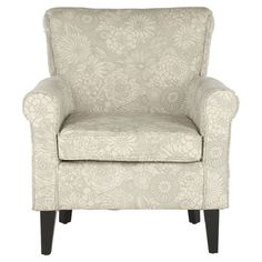 With floral upholstery and a rolled back, this birch wood-framed arm chair is a cozy addition to your favorite reading nook.  Produ...
