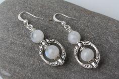 Moonstone earrings, moonstone and silver earrings, Christmas gift for her, moonstone dangles, moonstone drop earrings, moostone jewelry by BijouxKarmaJewelry on Etsy