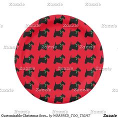 Customizable Christmas Scottie and Holly Paper Plate