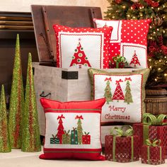 Pillow Perfect Christmas Trees 16.5-inch Throw Pillow - Overstock™ Shopping - Great Deals on Pillow Perfect Throw Pillows