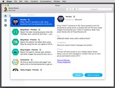 """Skype's new bots arrive on Mac and web -  At Microsoft's annual BUILD conference in March, the company announced its plans to bring bots to Skype and other communications platforms, includingSlack, Outlook, LINE, and elsewhere. Today, the company says Skype bots have rolled out in """"preview"""" to two ... 