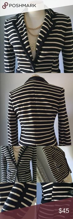 ZARA Nautical Striped Jacket Super cute dark navy striped jacket. Ivory background. Navy piping. Single button closure. Lined. Two front pockets.  Cotton blend. Pristine. Great for casual or work wear! Zara Jackets & Coats Blazers