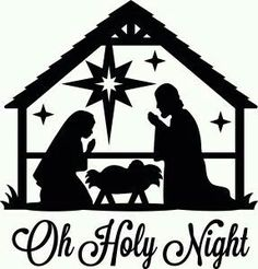 Nativity silhouette - baby in cradle