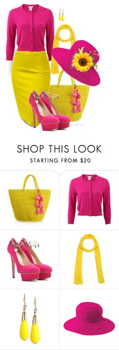 """Yellow and Pink"" by louvillia ❤ liked on Polyvore featuring Sensi Studio, Oscar de la Renta, Charlotte Olympia, Stefanel, INC International Concepts and San Diego Hat Co."