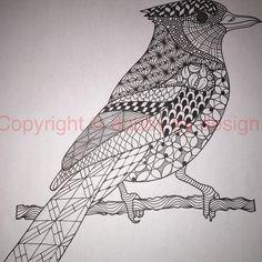 Blue Jay from Ben's templates #zentangle #dubbybydesign #zentangleinspiredart #benkwok #ornationcreation #inkdrawing #zendoidle #doodle
