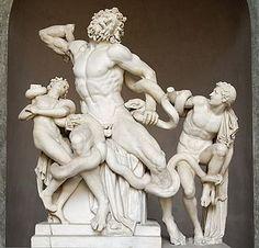 Laocoonte y sus hijos, de Agesandro, Atenodoro y Polidoro de Rodas (siglo II a. C.), Museo Pío-Clementino , Vaticano.