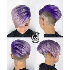 Purple color melt and goreous clipper cut by master barber Rickey Zito purple hair lavender hair clipper art clipper lines hotonbeauty.com