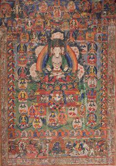 Tibetan Buddhist Thangka of Namgyalma (Ushnishavijaya) Long-Life Deity Thangka Painting, Tibetan Art, Buddhist Art, Tantra, Deities, Buddha, Oriental, Meditation, Spirituality