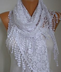 ON SALE - White Lace Scarf -  Shawl Scarf Women Scarves Cowl Scarf Bridesmaid Gift - fatwoman