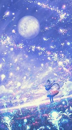 Read Wallpaper from the story Anime Pictures by (Hyo) with 954 reads. Cute Galaxy Wallpaper, Night Sky Wallpaper, Anime Scenery Wallpaper, Cute Wallpaper Backgrounds, Pretty Wallpapers, Glitter Wallpaper, Fantasy Art Landscapes, Fantasy Landscape, Fantasy Artwork