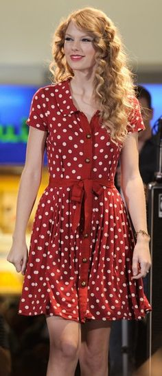 Who made Taylor Swift's red and white polka dot dress?