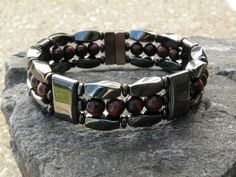HEALTH Men's Women's Red Tiger Eye Magnetic Bracelet Anklet STRONG Clasp 3 row