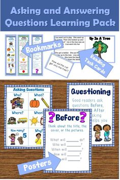 Help students ask and answer questions about what they are reading with posters, bookmarks, and reading task cards. #questions #posters #bookmark #readingstrategy #esl #esol #languagearts #tpt #teacherspayteachers