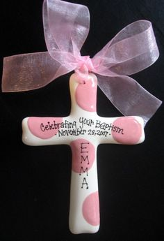 Personalized Baptism Cross - Children's Hand Painted Ceramic Cross - Great Baptism, Christening or Shower Gift