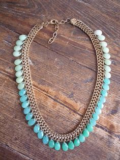 Vintage Gold Jadeite Necklace by TroveMagpie on Etsy
