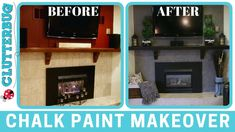 Watch this fast and easy chalk paint makeover! I chalk painted my fireplace, coffee table, end table and armoire all in one night for a . Coffee Table Fireplace, Fire Pit Coffee Table, Slate Fireplace, Paint Fireplace, Tabletop Fireplaces, Painted Brick Fireplaces, Painting Tile Floors, Painting Cabinets, Chalk Painting