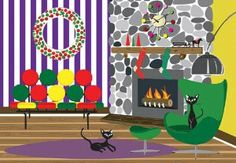 """Retro Cats Christmas Fireplace - Boxed Holiday Christmas Greeting Cards - Set of 10 Cards and Envelopes by 10%. Save 12 Off!. $14.95. Cards Measure 6.5"""" x 4.5"""". Clear Acetate Box. Printed in the USA. Inside: Warm wishes to you and yours this Christmas!. Box of 10 Cards & Envelopes. This is a brand new box of 10 holiday Christmas cards and envelopes. The cards measure 6 1/2 inches x 4 1/2 inches and are printed in the USA. Inside greeting reads: Warm wishes to you and yours this Christmas!"""