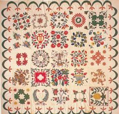 Baltimore Album Quilt, 1849. Made by the Ladies of the Congregation of the Manchester Reform Church.  Maryland.