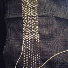 Visible Mending: 7 Tricks to Know Before You Sew Sashiko stitchin. Visible Mending: 7 Tricks to Know Before You Sew Sashiko stitching on british tweed by Manjusha craft craft diy Embroidery Designs, Hand Embroidery Patterns, Sewing Patterns, Embroidery Kits, Embroidery Scissors, Embroidery Books, Geometric Embroidery, Simple Embroidery, Embroidery Supplies