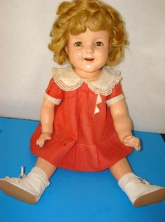 """Old Antique  Genuine Ideal  22"""" SHIRLEY TEMPLE Composition  Doll Rare Dress #Dolls"""