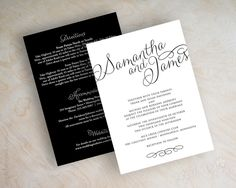Simple Script Names Wedding Invitations. Shown in black and white. Printed front and back. www.appleberryink.com
