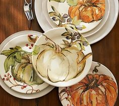 Watercolor Painted Pumpkin Dinner Plate, Mixed Set of 4 #potterybarn