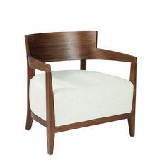 Walnut White Cream Accent Armchair