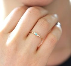 Solid Gold Natural Turquoise With Diamond Engagement Ring, Stackable Dainty Ring, Simple Skinny Ring - Accessoires - Rings Dainty Ring, Dainty Jewelry, Jewelry Gifts, Jewelry Accessories, Antique Engagement Rings, Solitaire Engagement, Sterling Silver Rings, Gold Rings, Diamond Rings