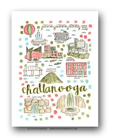 Chattanooga Map Print // Evelyn Henson // Collect your favorite cities at www.evelynhenson.com