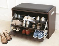 Furniture| Inspiring Shoe Racks Storage and Organization Ideas: Ikea Bench Shoe Rack Cabinet Ideas Furniture With Black Leather Stool For Entryway House Decor