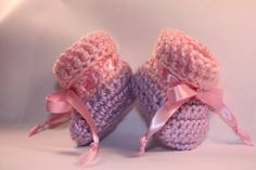 Pink Cuffed Purple Baby Booties  Girl Baby by ImagineThatBaby