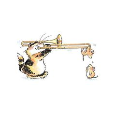 Suspenseful Music - Penny Black Inc. Animal Sketches, Animal Drawings, Cute Drawings, Trombone, Penny Black Karten, Character Illustration, Illustration Art, Music Painting, Cat Mouse