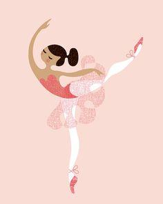"8X10"" ballerina arabesque giclee print on fine art paper. pink with beige/latina skin tone ($19)"