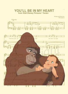 Tarzan and Kala Sheet Music Art Print