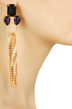 Rose gold finish black and purple swarovski tassel earrings by Micare.       Shop now:  http://www.perniaspopupshop.com/designers/micare    #shopnow #perniaspopupshop #micare