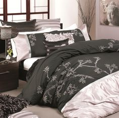 Azami Charcoal Quilt Cover Set by Platinum Collection - All Categories