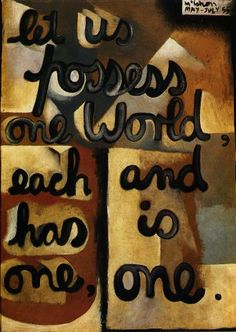 Colin McCahon    Let us possess one world, May – July 1955    enamel and oil on board, 76.1 x 55.8cm    The John Weeks Trust, University of Auckland Art Collection